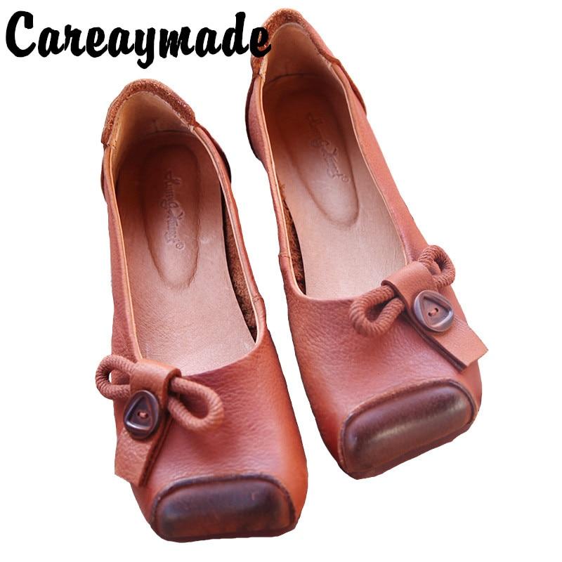 Zapatos de mujer de cuero de estilo étnico literario y artístico de Careaymade, cómodos zapatos informales individuales de cabeza cuadrada