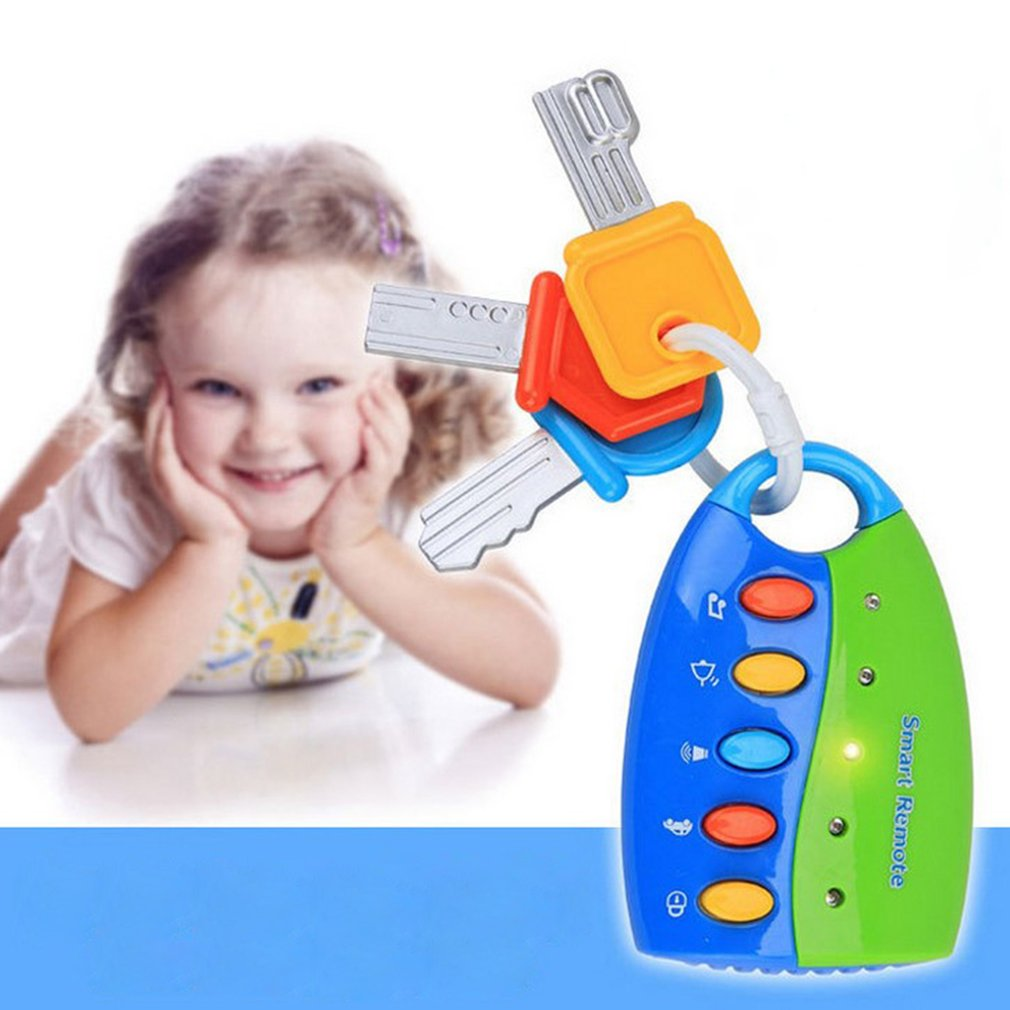 Llavero Musical para bebé con cierre de coche, juguete educativo para niños con control remoto inteligente, con voz, imitación de juego, juguete electrónico parpadeante