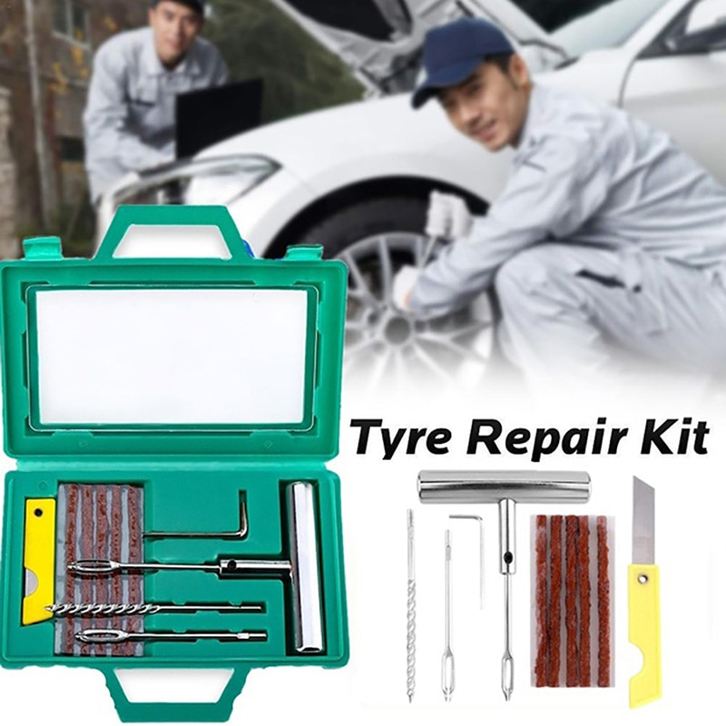 Tire Repair Kit Heavy Duty Puncture Fix Tools Plug Fit Car Truck Motorcycle Bike