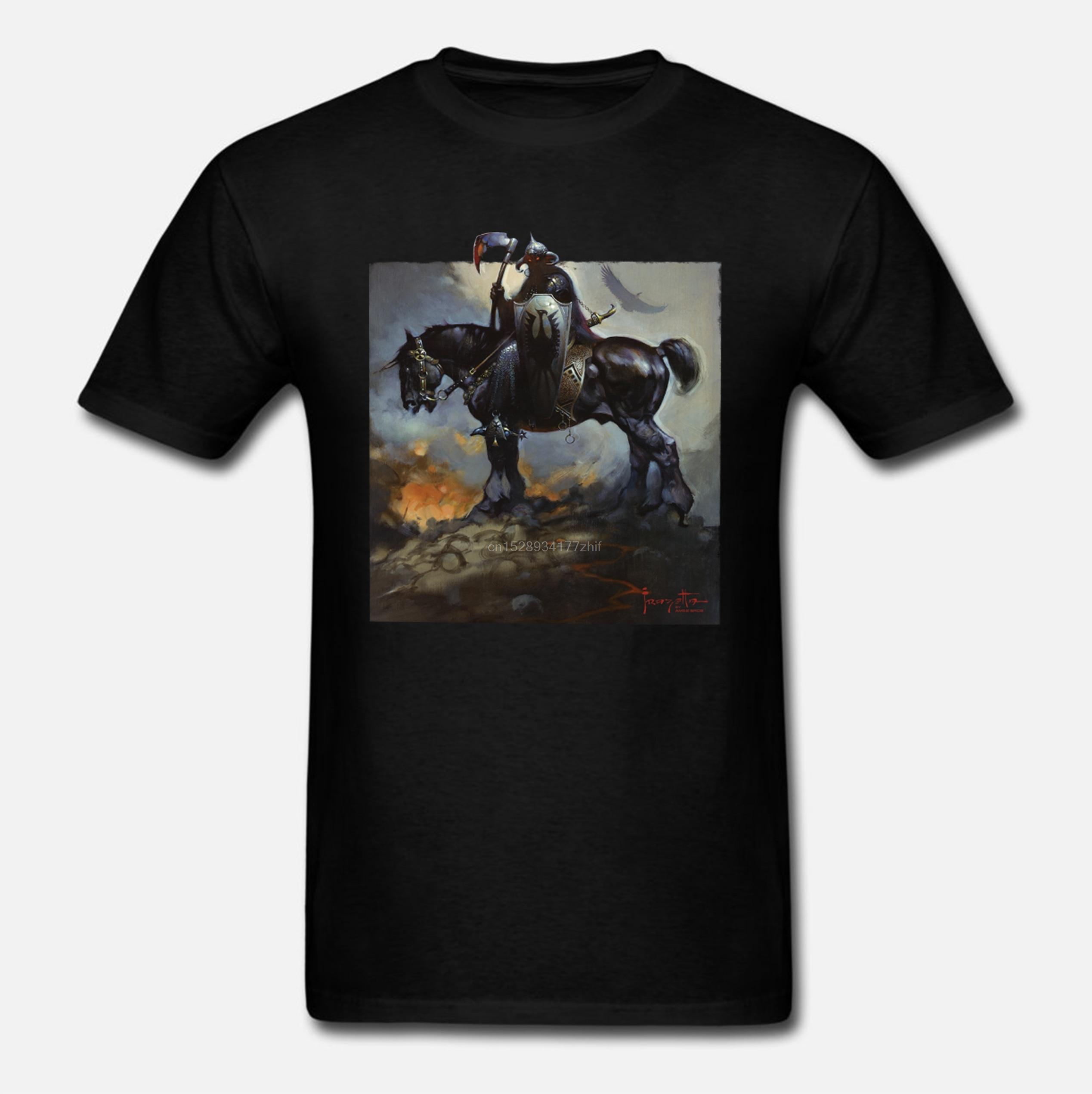 ildan funny t shirts  Frazetta by Ames Bros Death Dealer T-Shirt Men Short Sleeve Oneck Tee Shirts
