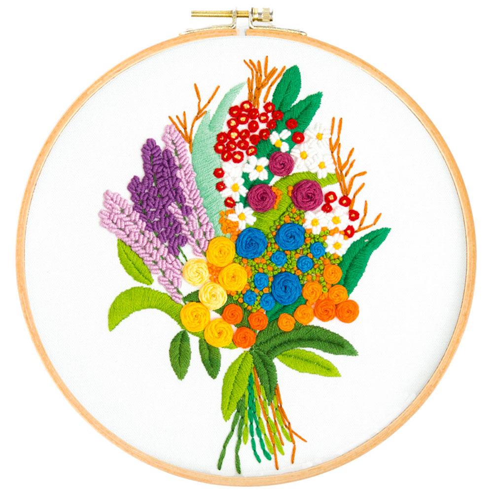 1 pc artesanal flores padrão multi-cor bordado starter kit ponto cruz bordado casa decoração de parede presentes para amigos