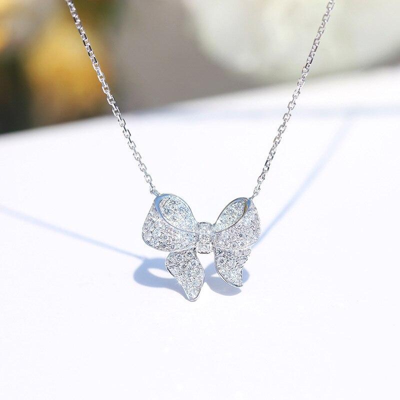 Conjunto de diamantes de lazo collar de borla collar de moda femenina INS en línea celebridad gargantilla colgante ornamento