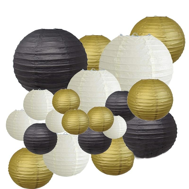 Decorative Party Paper Lanterns 20 Pcs Gold White Black Round Japanese/Chinese Lantern Lanterne Papier for Wedding Outdoor Decor