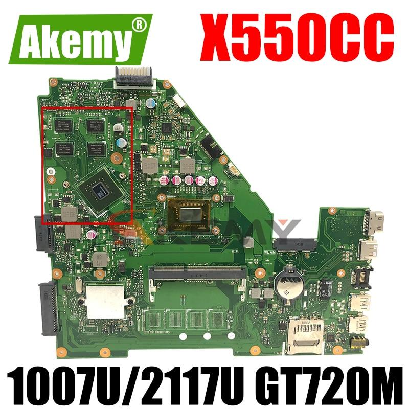 لوحة أم للكمبيوتر المحمول Akemy X550CC لـ ASUS A550C X550CL R510C لوحة رئيسية أصلية اختبار GT720M 1007U/2117U 2Core CPU