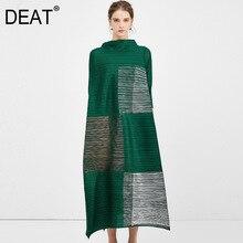 [DEAT] 2020 nowa wiosna wysokiej jakości sukienka plisowana damska luźne stoisko kołnierz rozrywka Bronz srebrny rękaw średniej długości elegancki mody AP048
