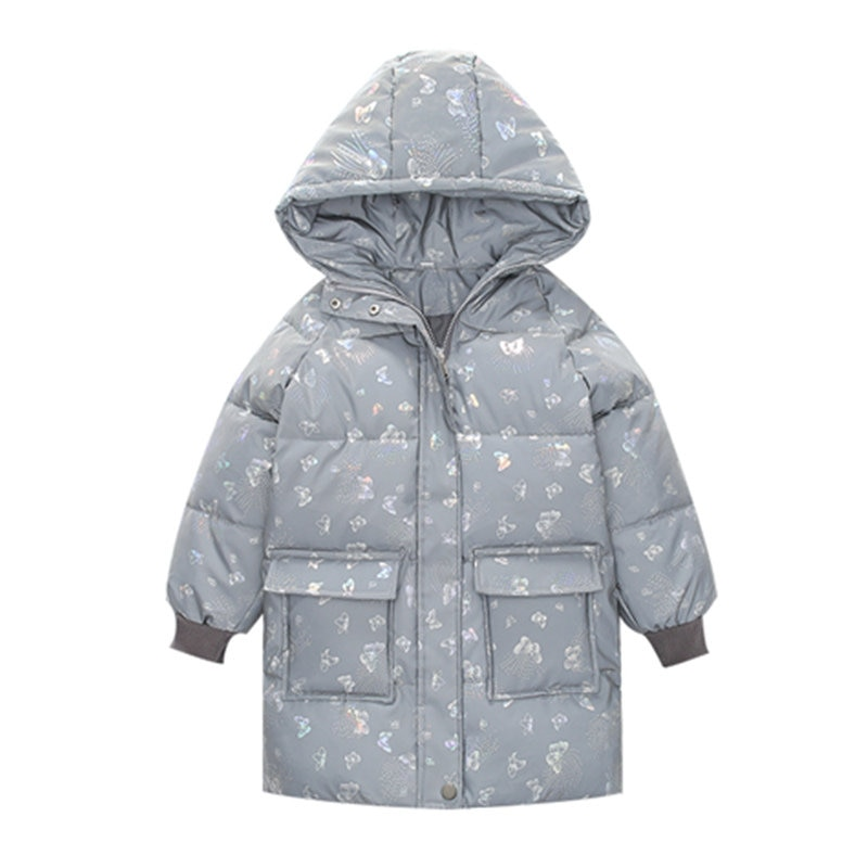Children's Coat Girl Winter Reflective Luminous Cotton Down Jacket For Teens Butterfly Print Parkas Hooded Kids Clothing 4-14Yrs enlarge