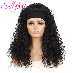 Sallyhair Synthetic Afro Deep Wave Long Hairband Wigs High Temperature Fluffy Natural Black Color 18inch Curly Wig