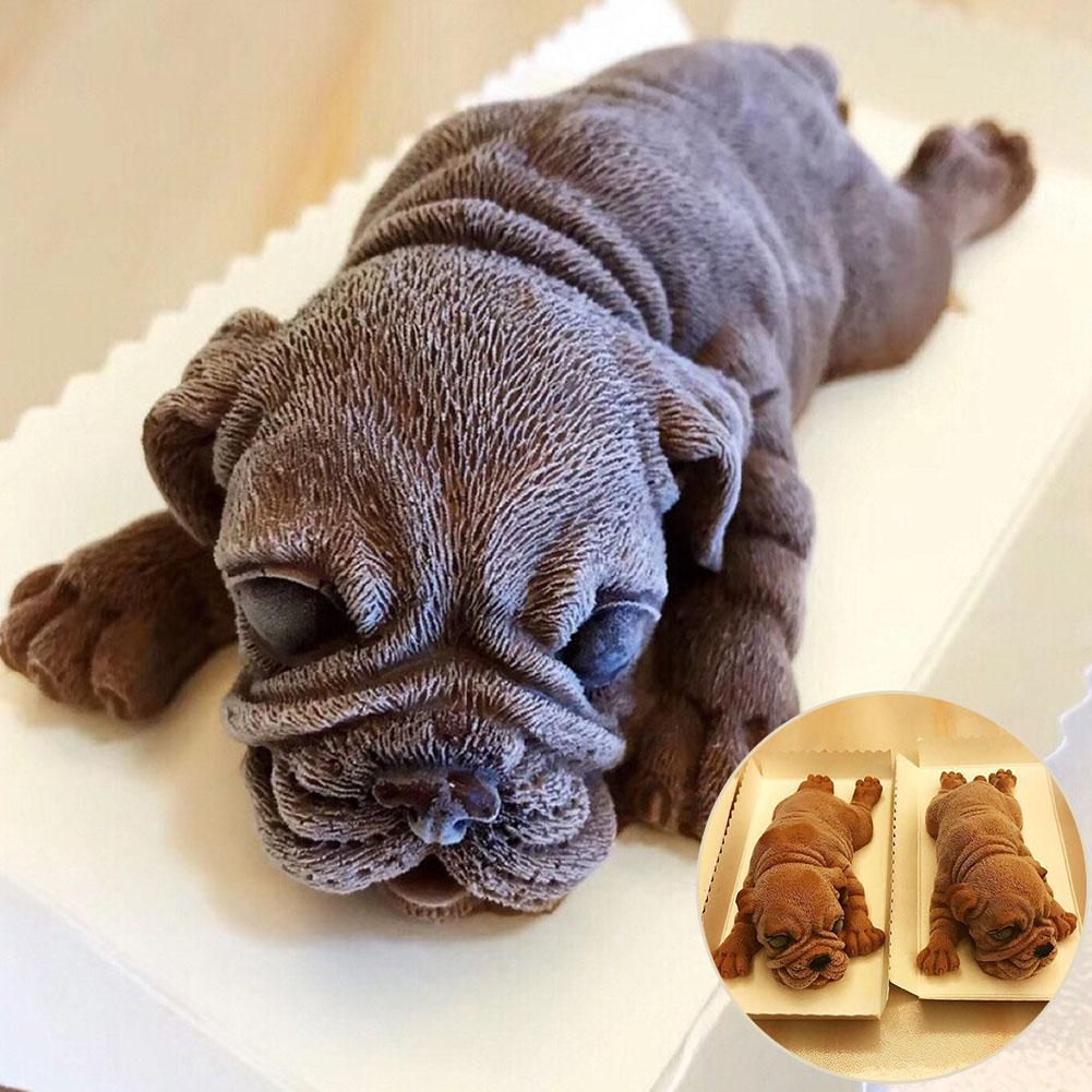3D Shar Pei perro pastel Mousse de Chocolate molde decorativo galleta herramienta de hornear