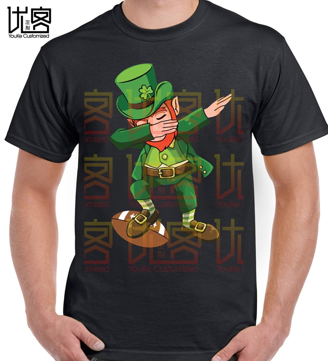Gran venta verde Irlanda Leprechaun Dabbing camisa de baile Rugbys 90s Cartoon camiseta de hombres nueva moda Hip Hop Camiseta Grande