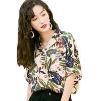 hawaiian summer vintage women shirts fashion leaves print camisa turn down collar short sleeve chiffon shirt vetements femmes