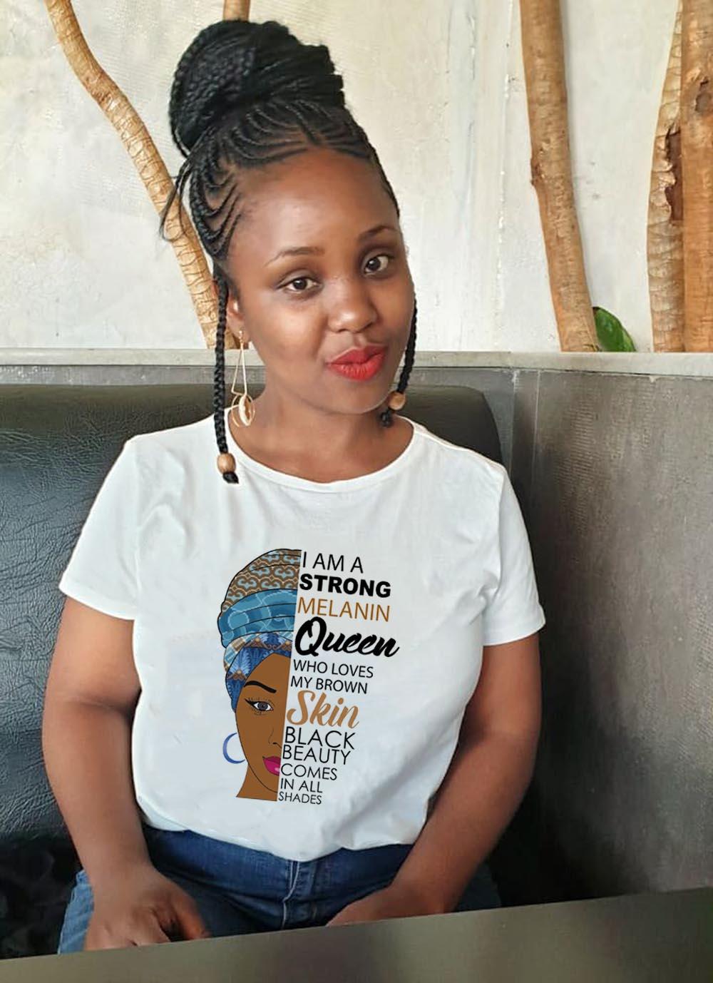 ICH Bin EINE Starke Melanin Königin Drucken T Shirt Frauen Sommer T-shirt Kleidung Afrikanische Schwarz Mädchen Geschichte Weibliche Graphic Tees tops Femme