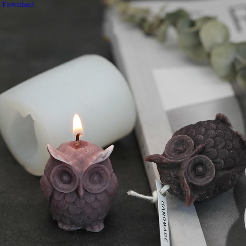 3D búho vela molde Aroma vela hecha a mano DIY auto-hecho Animal vela molde para jabón de bricolaje suministros silicona yeso Fondant pastel molde