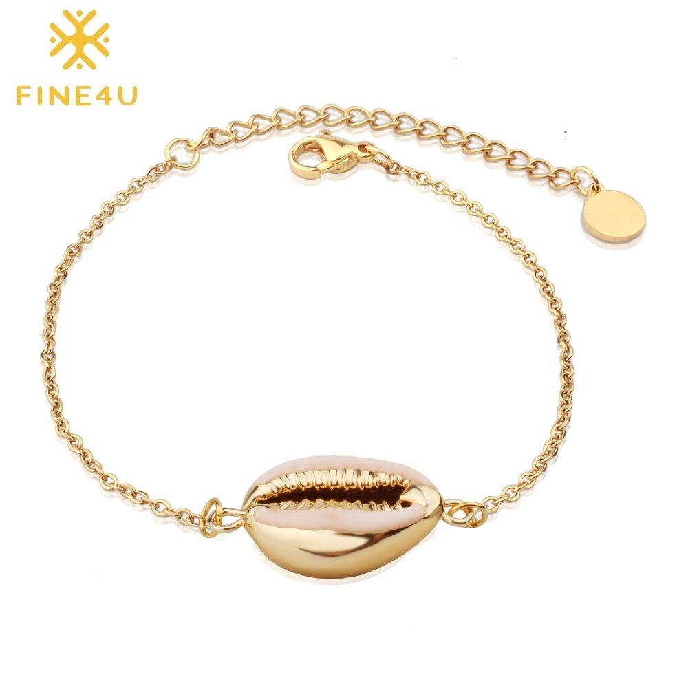 FINE4U B189 Bohemia Shell Charm Bracelet For Women Gold Color Stainless Steel Link Chain Bracelets Summer Beach Jewelry