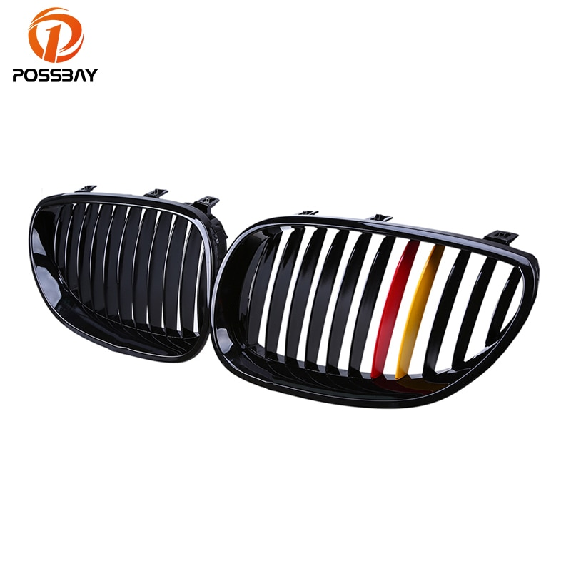 POSSBAY Racing Grille Gloss Black Red Yellow Germany Flap Grilles for BMW E60 Sedan E61 Touring 2003-2010 Front Center Grilles