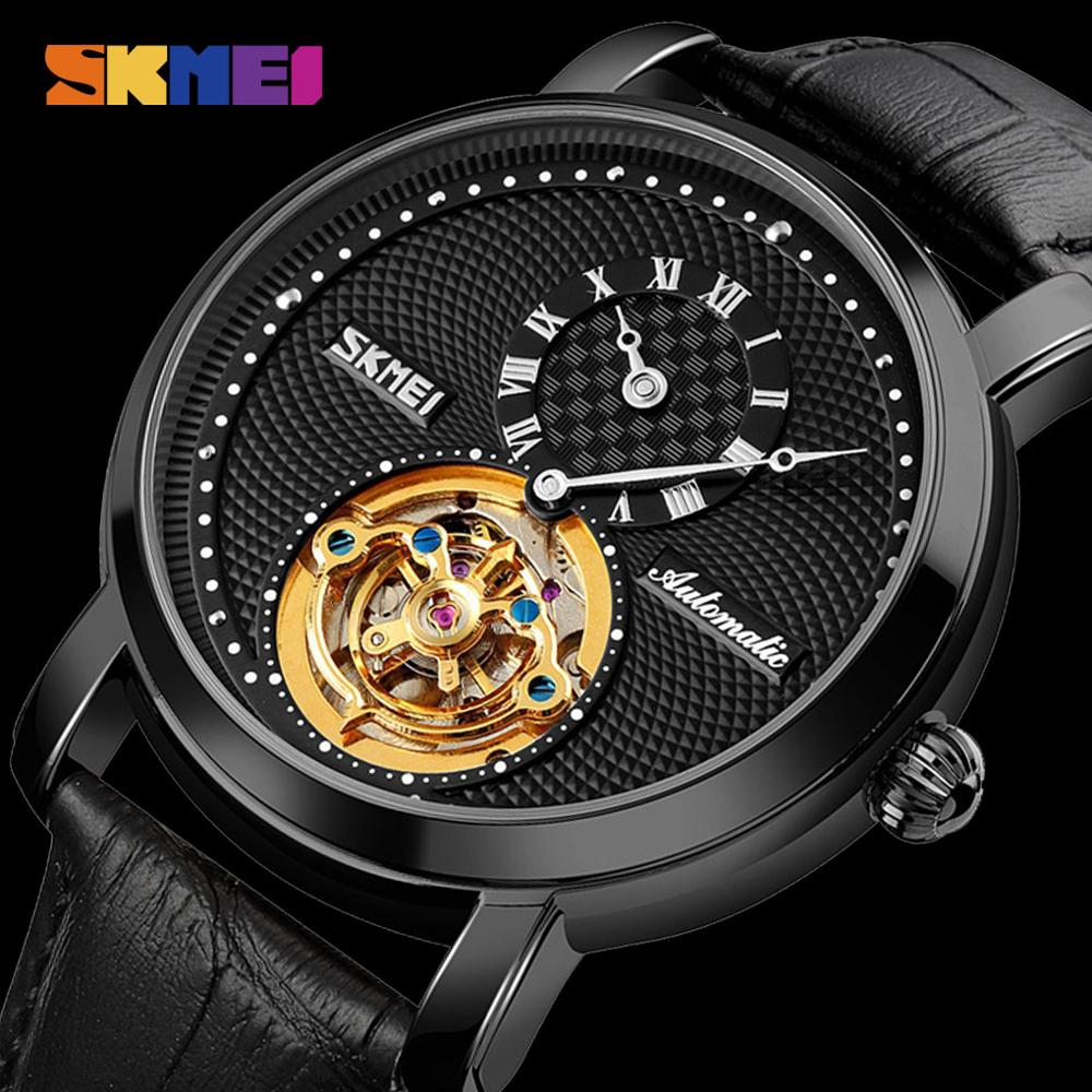 SKMEI Elegant Mechanical Watches Mens Automatic Wrist Watch Leather Strap Round Hollow Dial Men Business Male Clock reloj hombre