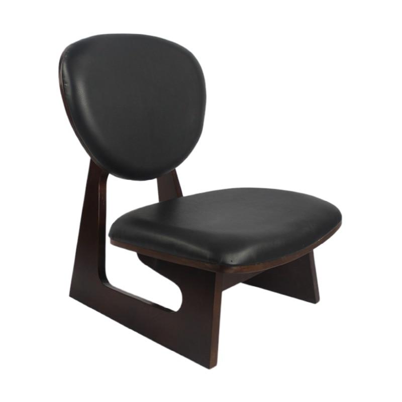 النمط الياباني الخشب منخفضة كرسي البراز الماهوجني إنهاء أثاث غرفة المعيشة الترفيه راكع كرسي التأمل مقعد ستارة جلدية