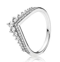 Darmowa wysyłka prawdziwe 925 srebro pierścień księżniczka nosić cyrkon pierścionek w kształcie korony Pandoras pierścienie dla kobiet prezent biżuteria bankietowa