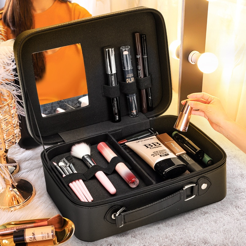 portable simple storage case large capacity multi function travel toiletry bag aluminum alloy cosmetic case double layer simple Cosmetic Bag Multi-layer Large Capacity 2021 New Portable Travel Cosmetic Case Korean Student Cosmetic Storage Box Female