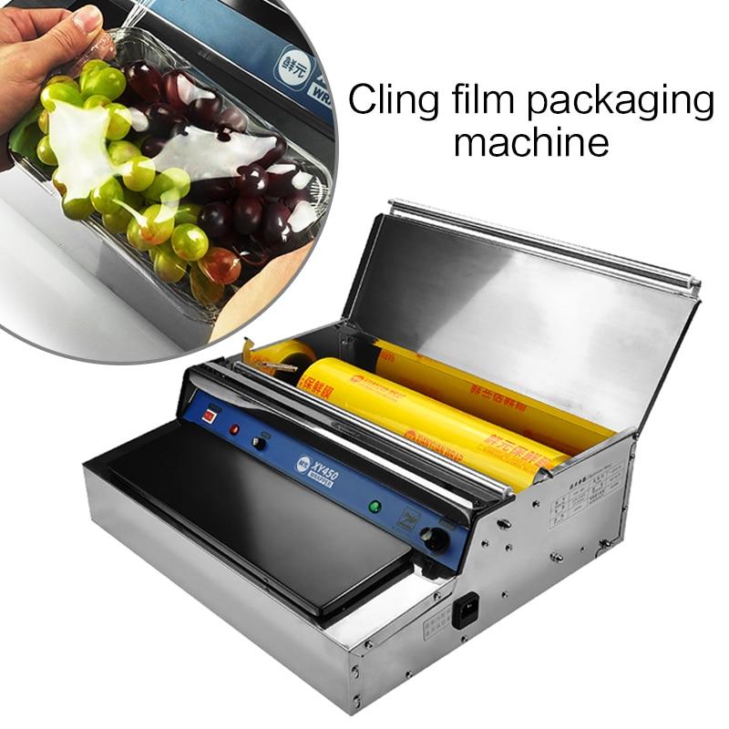 Commercial plastic wrap packaging machine Supermarket fresh fruit food vegetable wrap film sealing machine