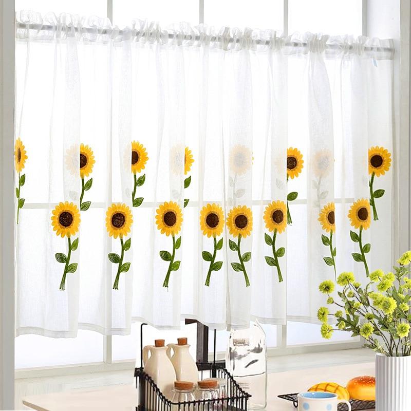 Купить с кэшбэком 1 PCS Rod Pocket Short Curtain Cute Animals Embroidered Half-Curtain For Kitchen Door Drape Cafe Small Window Panel Sheer WP121H