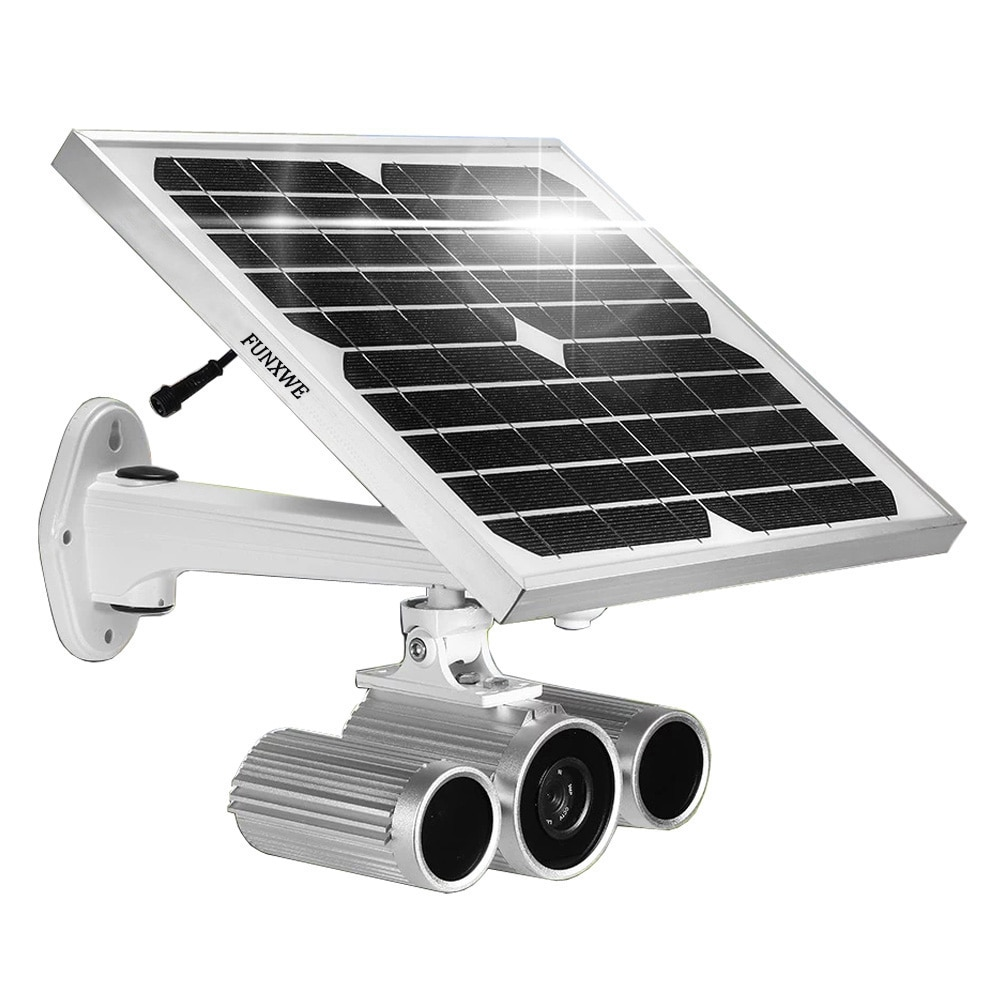 Funxwe fw26 energia solar alimentado por bateria 1080 p wifi câmera ip sem fio p2p starlight cctv visão noturna de segurança ao ar livre ir 80 m