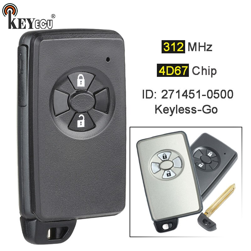 KEYECU 312MHz 4D67 Chip 271451-0500 Keyless-Go 2 Button Remote Car Key Fob for Toyota Auris, Corolla Axio, Premio, RAV4, Mark X