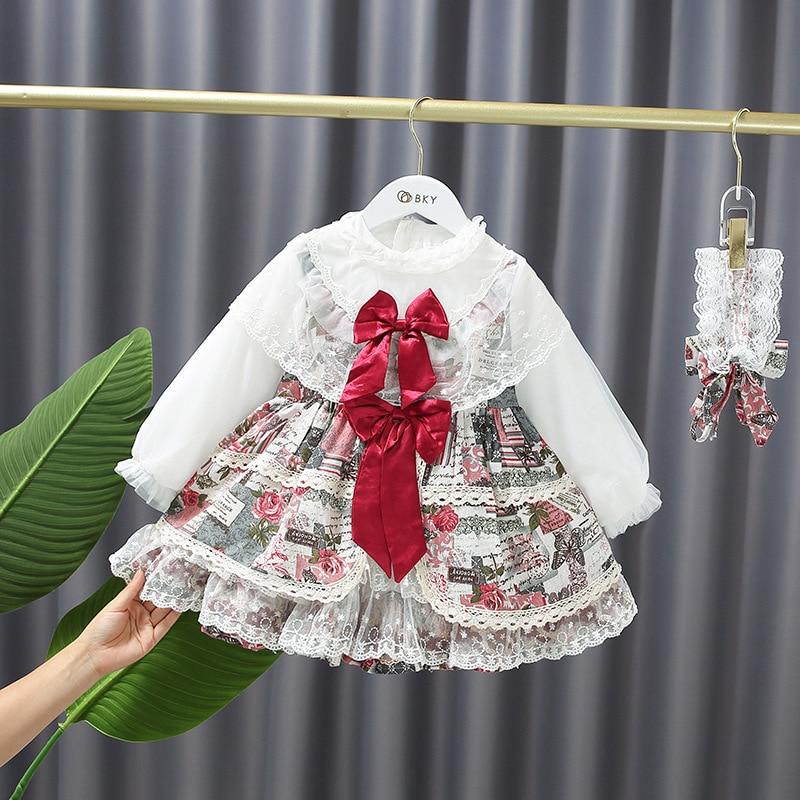 الخريف لوليتا فستان طفل الرجعية الطباعة طويلة الأكمام كعكة فستان فساتين حفلات أعياد ميلاد للفتيات
