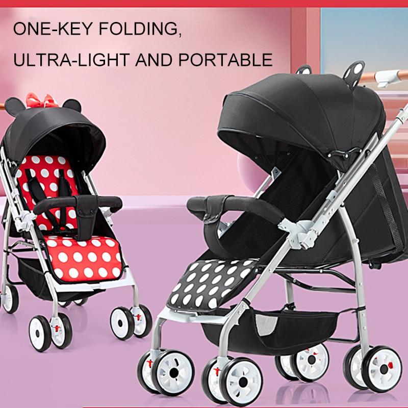 Baby Stroller High Landscape Trolley Car Lightweight Pram Sit/ Lie Cartoon  Folding Baby Carriage for Travel Take on Airplane