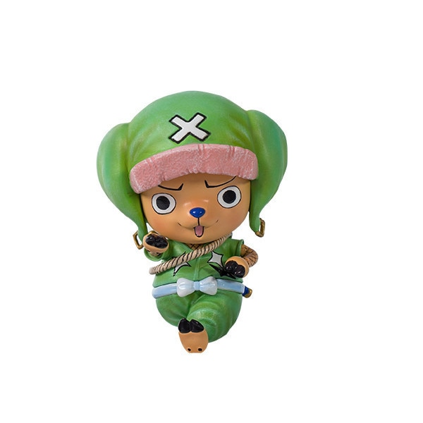 9cm una pieza Luffy Tony tony Chopper abrigo verde lindo Anime PVC figura de acción cara cambiable colección modelo juguetes muñeca de dibujos animados