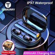 4000 мАч TWS Bluetooth наушники 5,0 9D стерео беспроводные наушники сенсорное управление IPX7 водонепроницаемые беспроводные наушники внешний аккумулятор