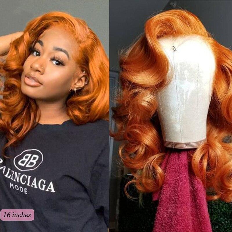 Light Orange Body Wave 13x4 Lace Front Human Hair Ginger Virgin Human Wigs for Black Women 180 Density
