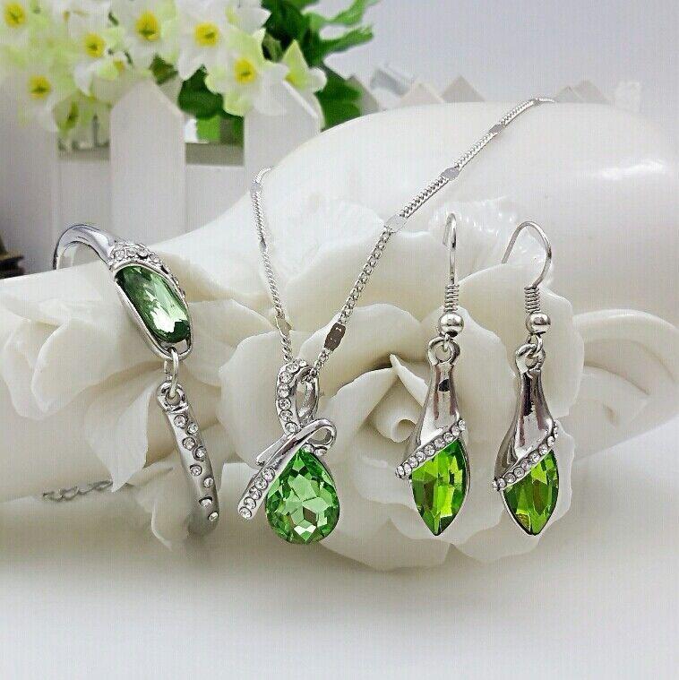 QiLeSen, хорошее ювелирное изделие, Стерлинговое Серебро 925 пробы, подходит для женщин, набор, стеклянная обувь, кристалл, зеленый, ожерелье, серьги, браслет, набор YW157