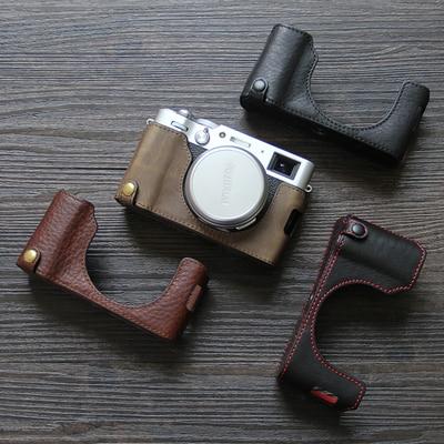Funda de cuero hecha a mano Fujifilm X100V Fuji X100v, Funda de cuero X-100v, funda protectora, funda para cámara, carcasa semimolde de Base