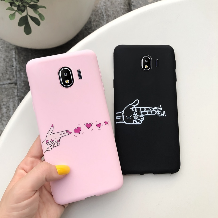 Funda de mano pistola amor Teléfono para Samsung J4 2018 funda SM-J400F funda trasera Coque para Samsung Galaxy J4 2018 J400F funda blanda Capa