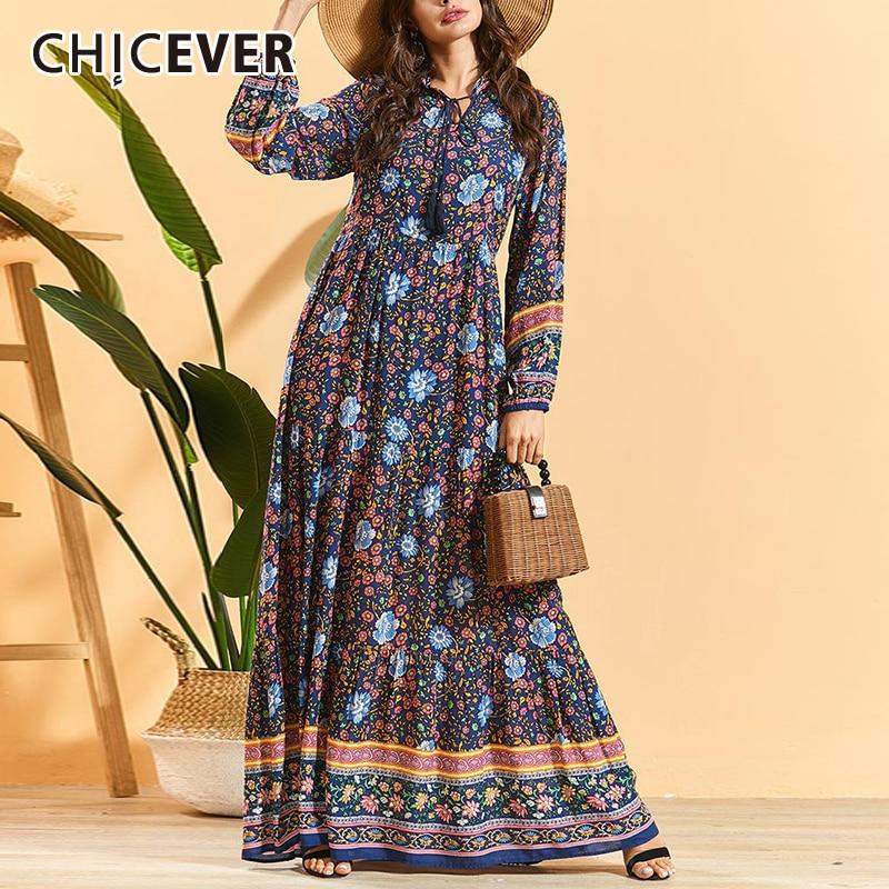 Vestido de mujer CHICEVER dibujo bohemio cuello redondo manga larga cintura alta túnica fruncida Maxi Vestidos Mujer 2020 ropa de moda nueva