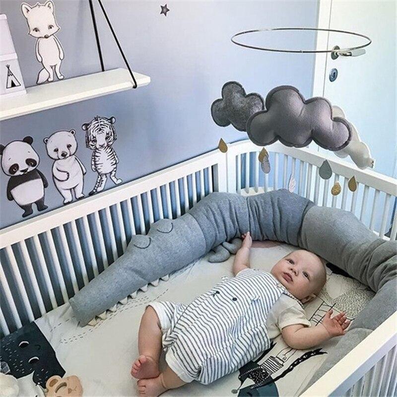 185cm Baby Bed Bumper Newborn Crocodile Pillow Crib Protector Infant Bed Cot Bumper Toddler Nursery Bedding   ZT10