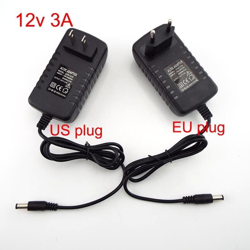 12V 3A plug 3000MA ca 100V-240V DC chargeur adaptateur alimentation convertisseur mur charge transformateur 5.5 pour CCTV LED bande lumineuse