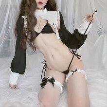 Lilicochan-lencería Sexy para mujer, uniforme de sirvienta, trajes de Cosplay de monja, Top de Bikini caliente, ropa Ultra corta de manga larga hueca