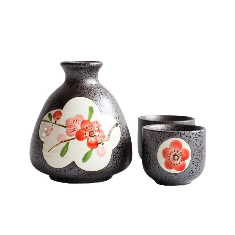 وعاء-bellies الأحمر البرقوق عدة نبيذ ، التقليدية ساكي كأس مجموعة السيراميك كأس للنبيذ ، رسمت باليد الشاي كأس للنبيذ طقم هدايا