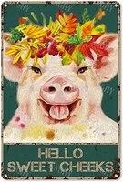 Citation drole de salle de bain en metal  signe en etain  decor mural Vintage Hello Sweet Cheeks Pig  couronne en etain