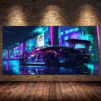 Постеры и принты спортивных автомобилей Future Steam City, настенные художественные картины на холсте для игровой комнаты, декор для спальни и маль...