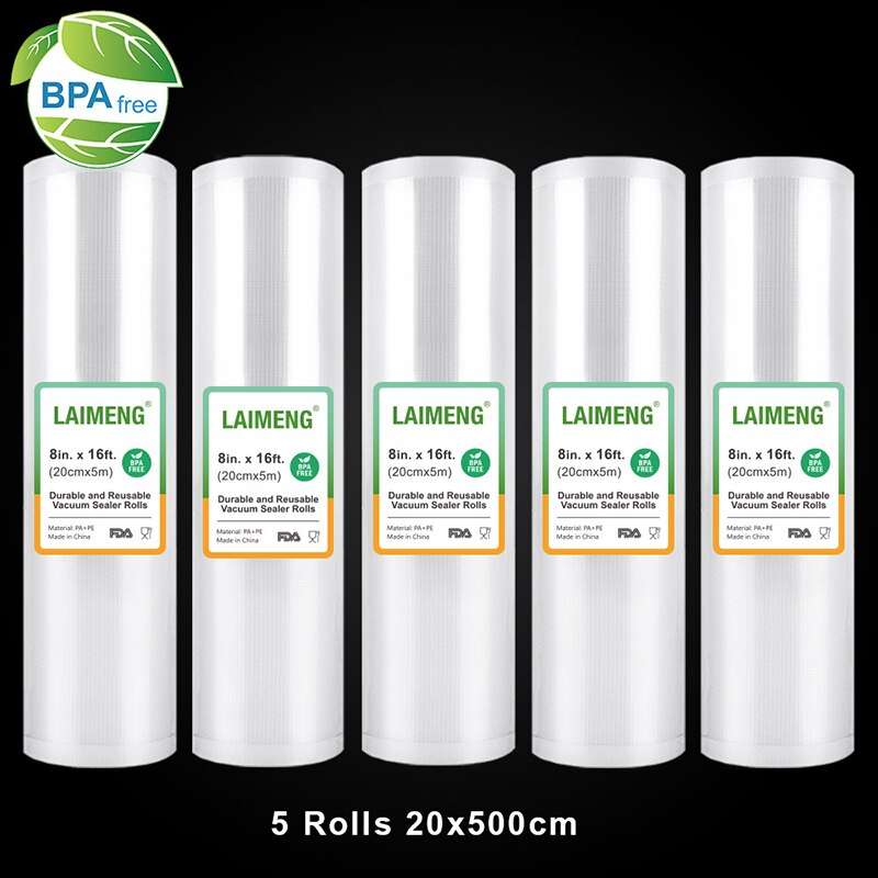 LAIMENG Vacuum bags for Vacuum Sealer Sous Vide Storage Bags 5 Rolls 20cmX500cm Vacuum Seal Roll For Vacuum Packing Machine R114