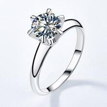 Olevo 925 Sterling Silver Classic Six-claw Mosanite Simple Sparkle Luxury Jewelry Wedding Ring Diamo