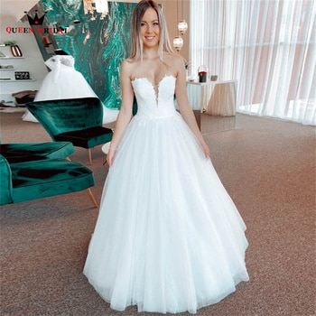 Simple A-line Strapless Wedding Dresses Tulle Lace Appliques Long Formal Elegant Bridal Gown 2022 New Design Custom Made DS122