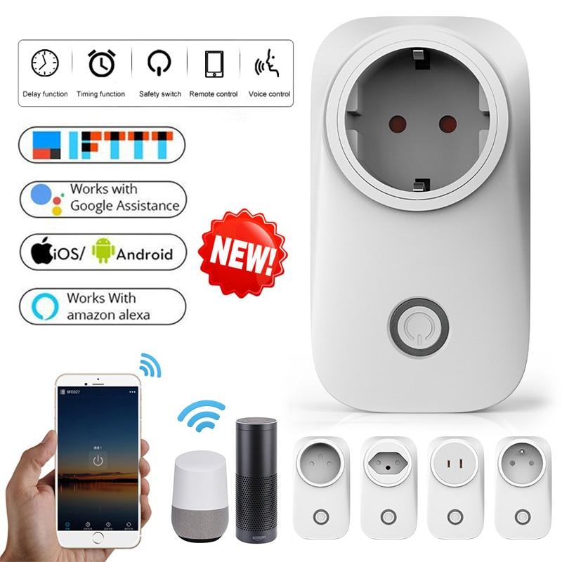 Wifi tomada inteligente ue uk swit au br fr jp israel ita za plug 10a app controle remoto inteligente trabalho para alexa google casa ifttt