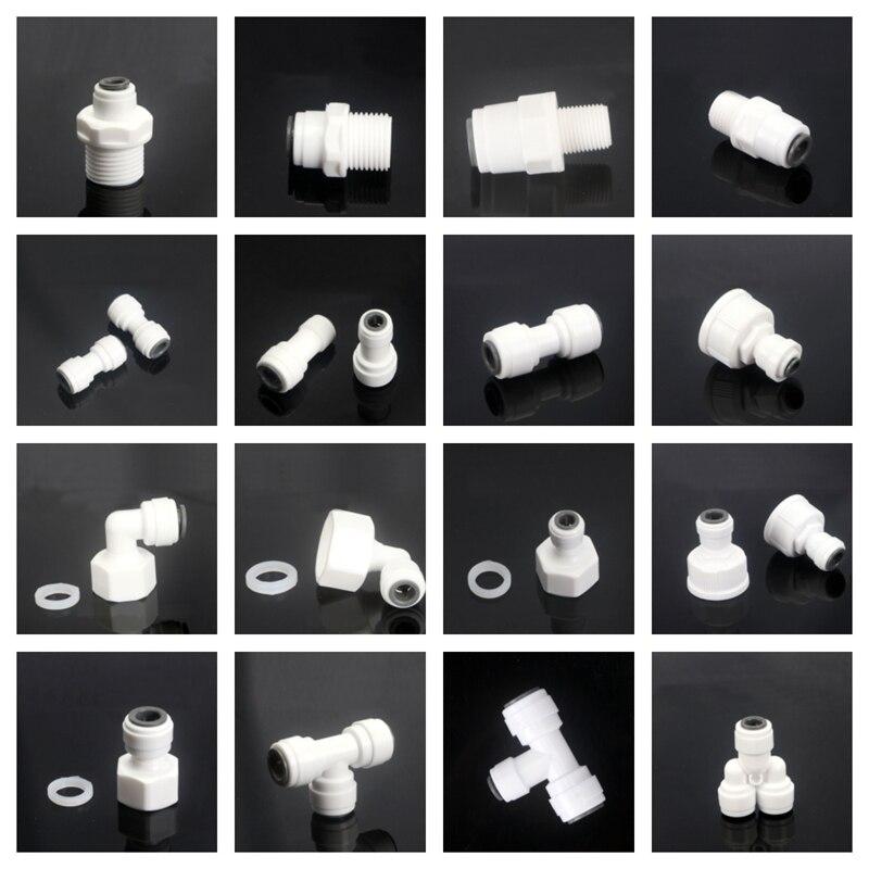 RO штуцер для водопроводной трубы 1/4 дюйма, наружный диаметр 3/8 дюйма, 1/8 дюйма, 1/4 дюйма, 3/8 дюйма, 1/2 дюйма, пластиковая труба, Быстрые соедините...