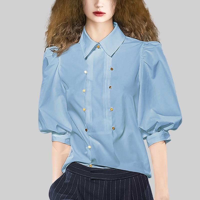 High-quality shirt women's 2021 spring stand-up collar lantern sleeve printed chiffon blouse retro lazy blouse fashion lantern f