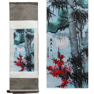 Pine Bamboo And Plum Blossom Pattern Silk Painting Decoration Scroll Painting Chinese Characteristics