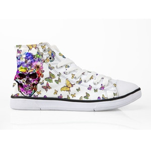 HaoYun Women Flat Vulcanized Shoes Skull Pattern Ladies Lace-up Casual Shoes Cool Design Prints Breathable Walking Canvas Shoes