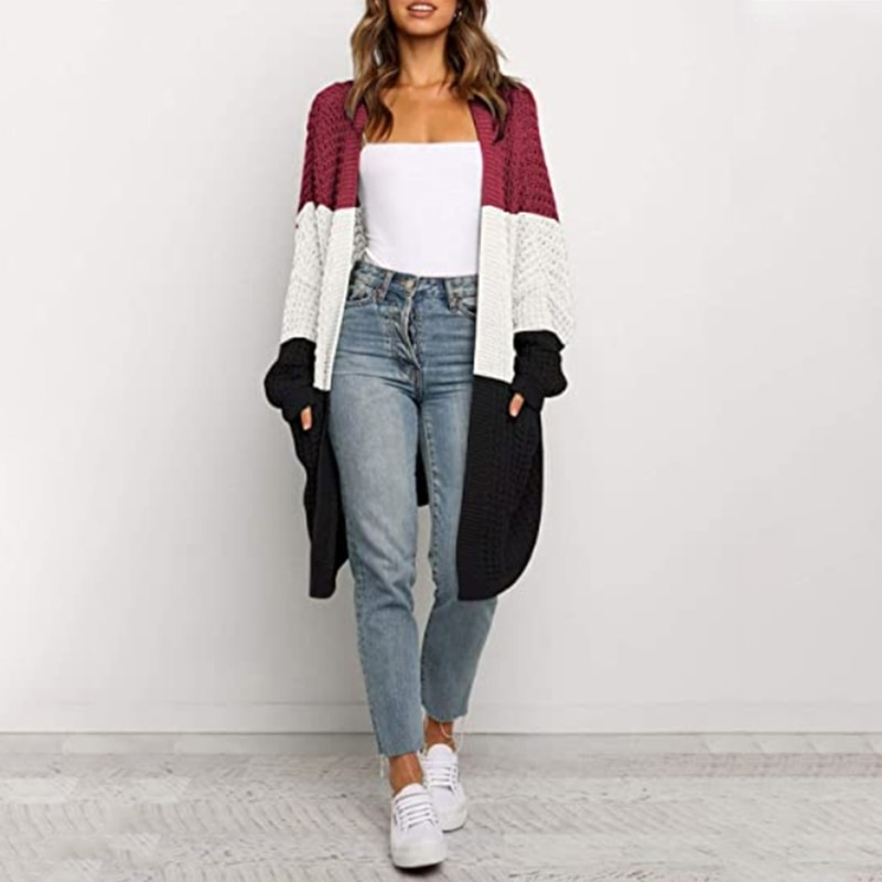Women Batwing Long Sleeve Cardigan Knitted Open Front Color Block Sweater Coat enlarge